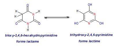 équilibre tautomérique entre les formes lactame et lactime