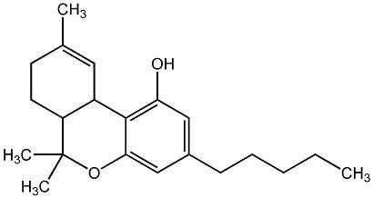 Structure chimique du Δ-9-tétrahydrocannabinol